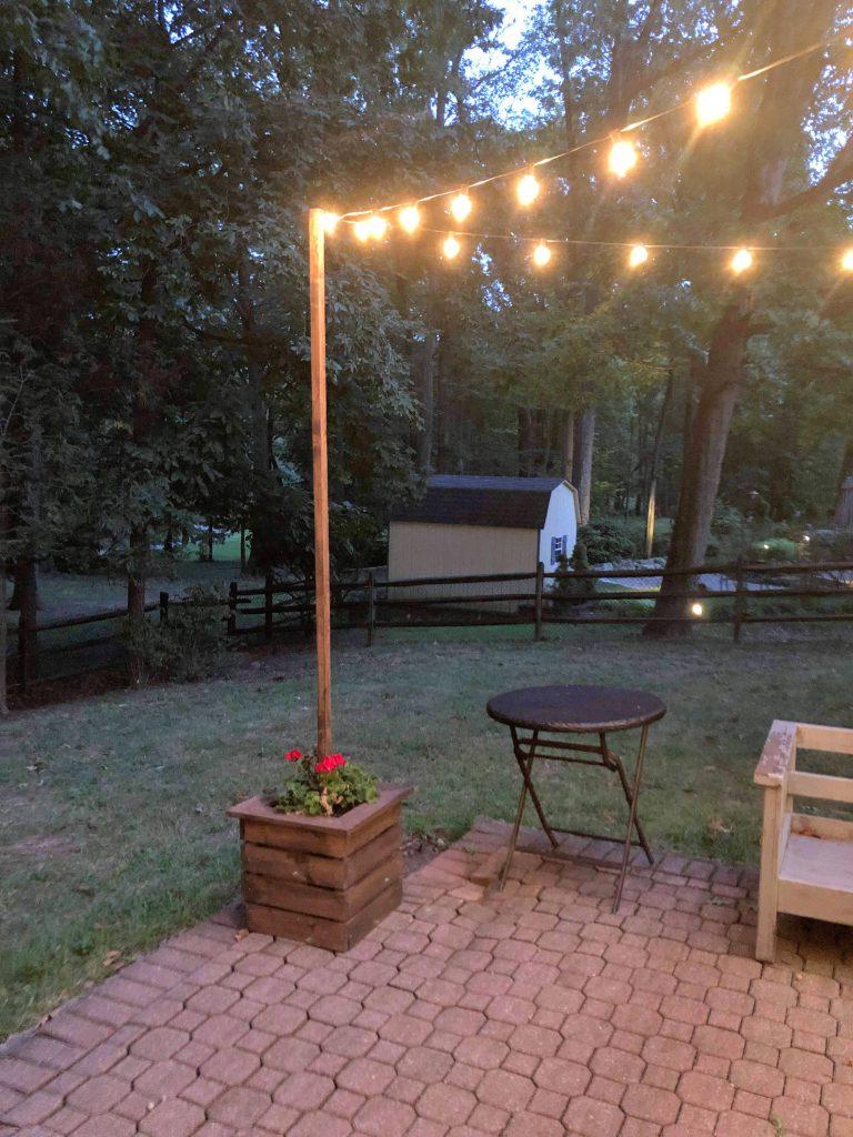 DIY string light poles2